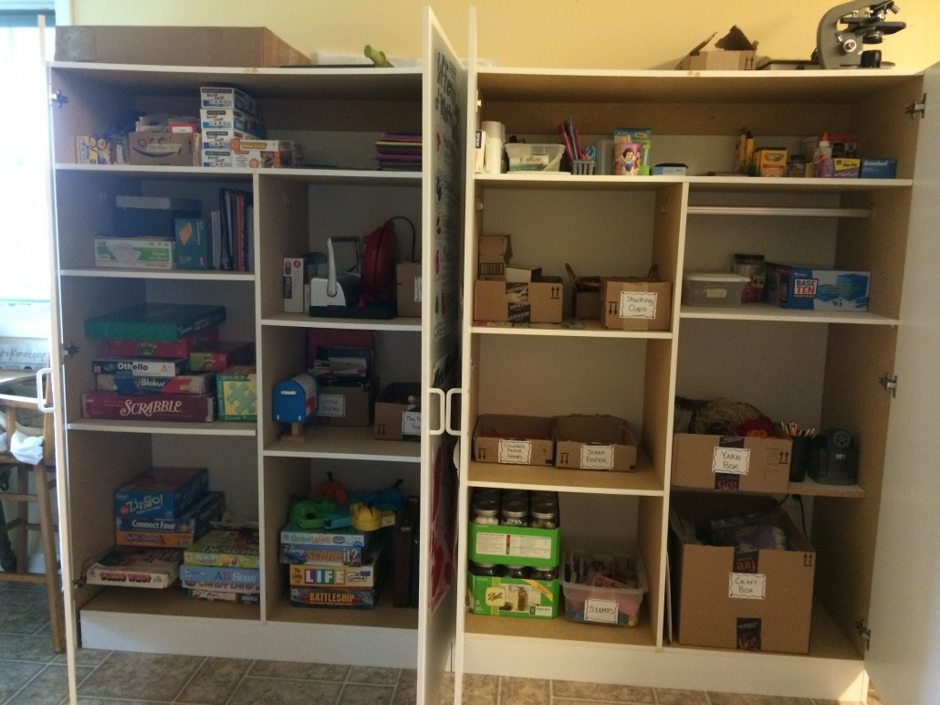 Organized Cupboards Filled with Learning Supplies