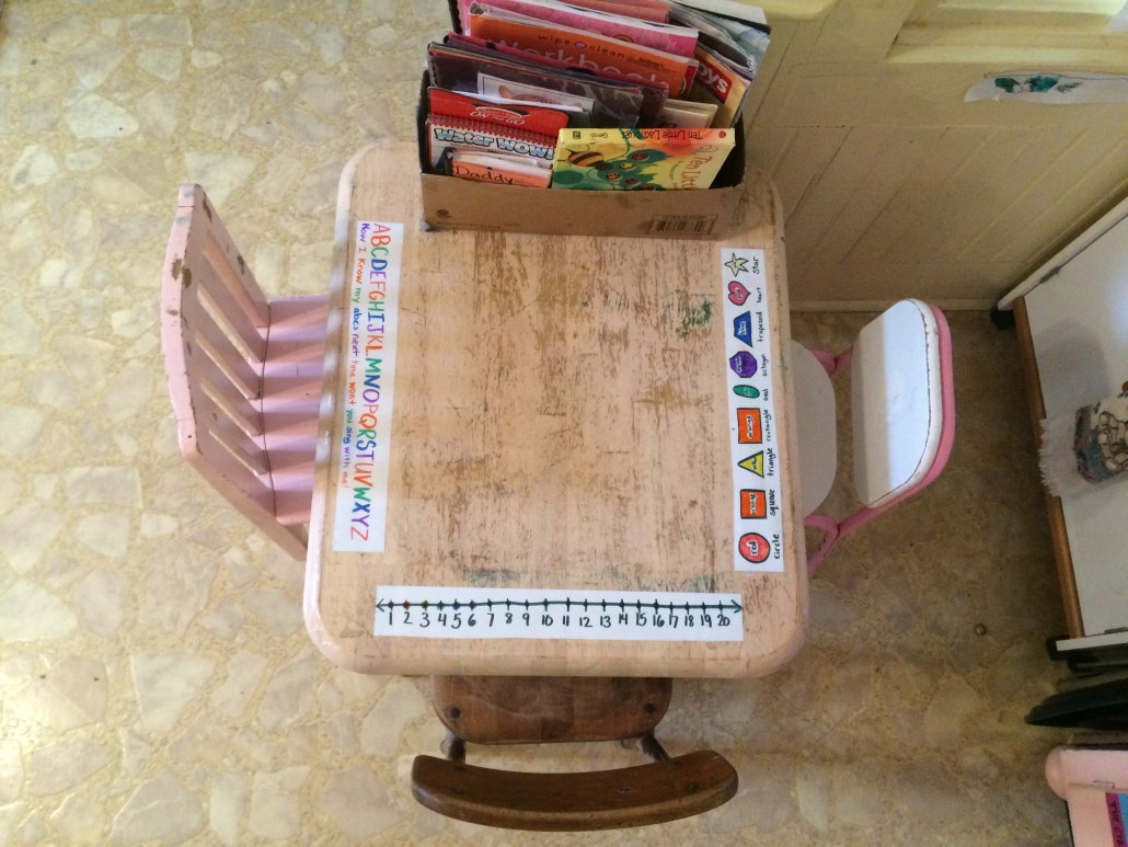 little kid table in the kitchen with learning strips and a cardboard bin of books