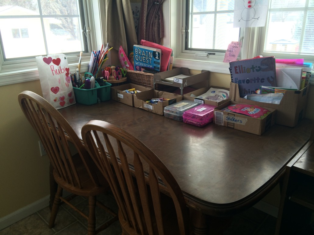 organized table with craft supplies
