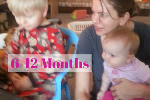 6-12 months 7 month old baby on mommy's lap