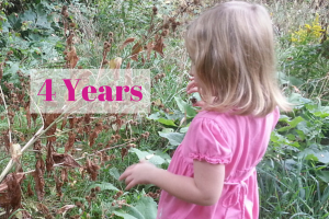 4 years, little girl exploring outdoors, language development