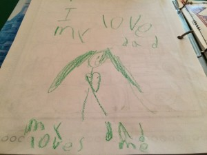 a picture my five year old drew to show how much she loves her daddy