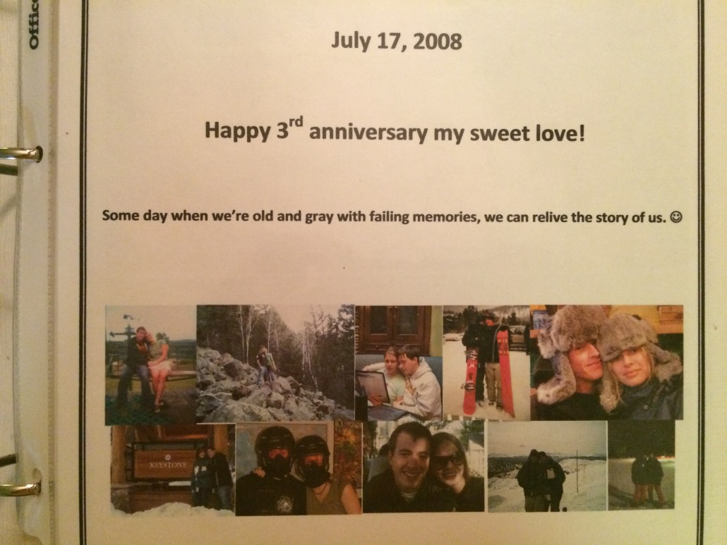 dedication page for the scrapbook I made Scott for our 3rd anniversary