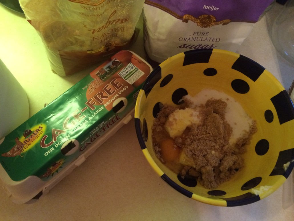 Eggs, Sugar, Brown Sugar, and Butter