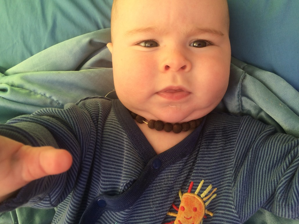 My 5 Month Old Son with an Allspice Teething Necklace