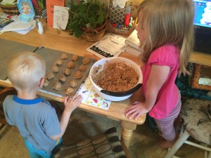 Making healthy oatmeal cookies with kids