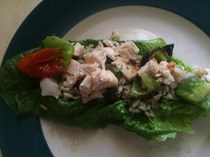 Cut Up Chicken Kabob on Rice in a Lettuce Wrap