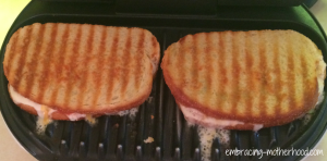 grilled paninis on a foreman