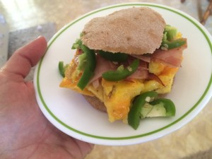 egg sandwich with jalapenos