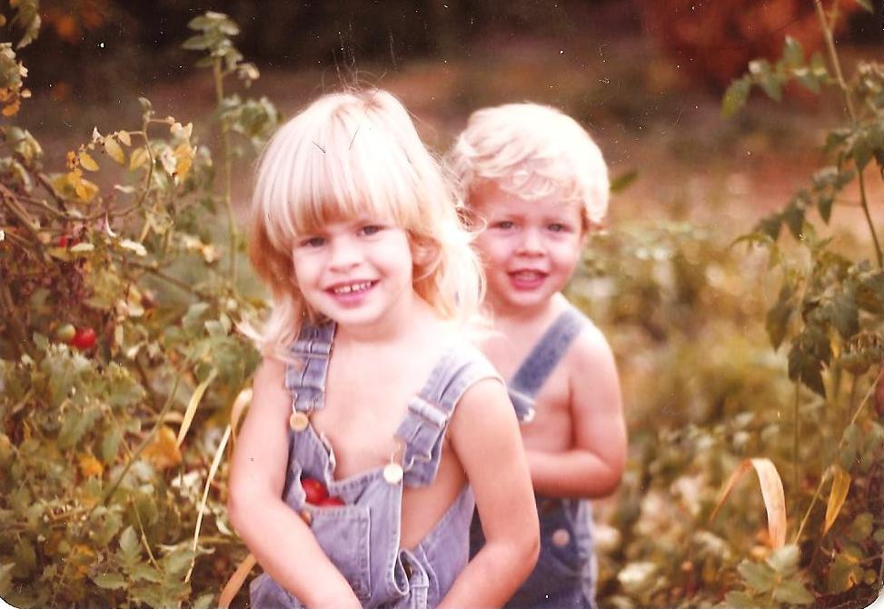 My Brother Jarrod and I Enjoying a Garden as Kids