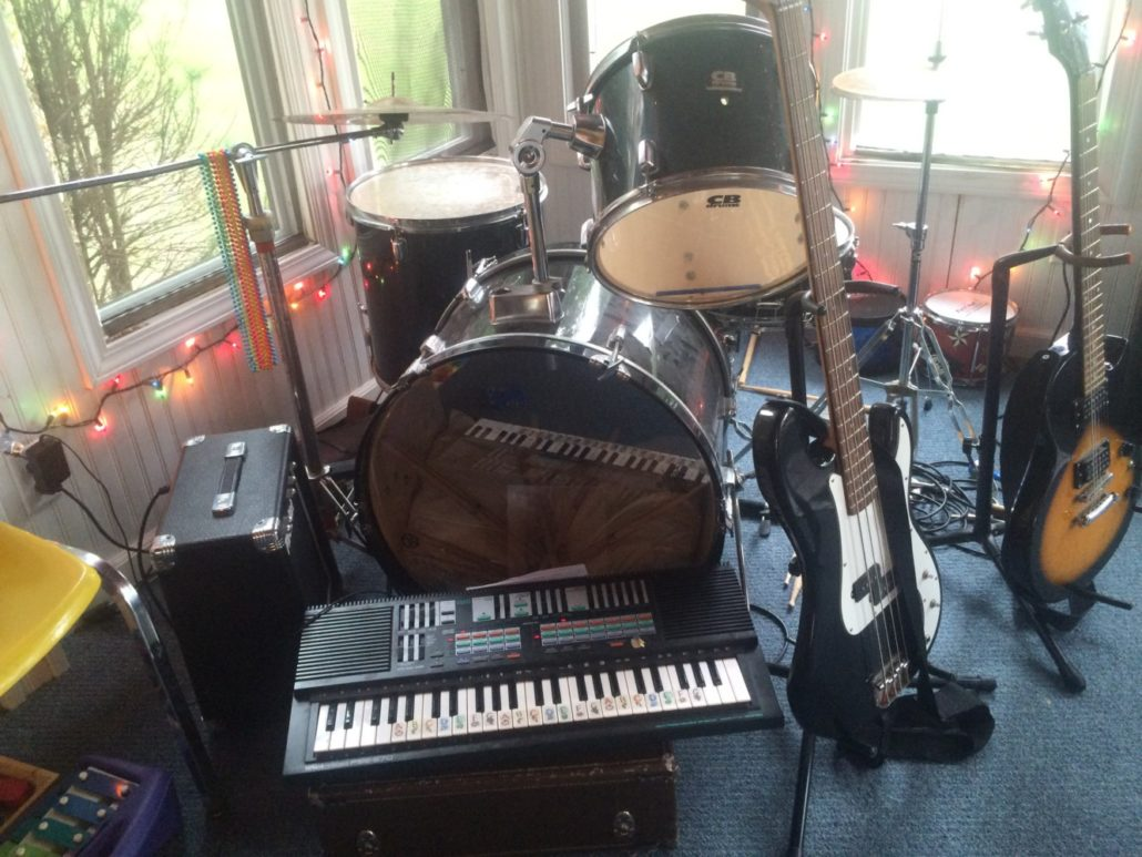 Drums, Keyboard, Bass Guitar, Electric Guitar, and Amp